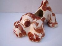 Pottery Puppy Dog Brown & White Spaniel Planter. N.S. Co Cleveland OH. Vintage.