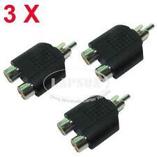 3PCS 1 to 2 RCA TV Audio Video AV Splitter Adapter Connector Mono Stereo UK