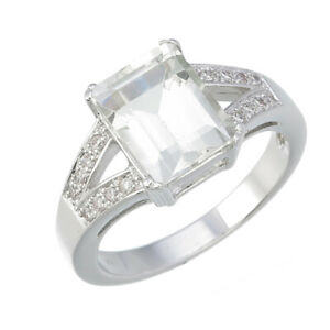 2.20 cttw 10x8 MM Emerald Shape Green Amethyst Ring in Brass with Rhodium Plated