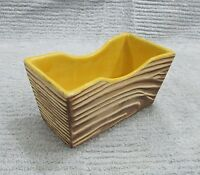 Vintage Shawnee Pottery Wood Grain Textured Yellow 3x6 Rectangle Planter FREE SH