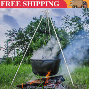 Portable Tripod Camping Outdoor Cooking Campfire Picnic Pot Cast Iron Grill