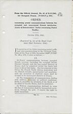 1941 Order of Official Journal of Occupied France re Postal Communications