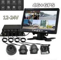 4CH Car Vehicle DVR Video Recorder AHD SD 4G GPS Realtime&Monitor w/4PC Camera
