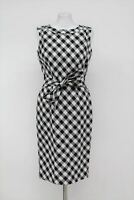 HOBBS Ladies Black & White Linen Blend Self Tie Belt Amalfi Shift Dress UK12 NEW