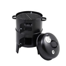 BBQ Charcoal Smoker Grill Round Fire Pit Garden Patio Barbecue Food Meat Cooking