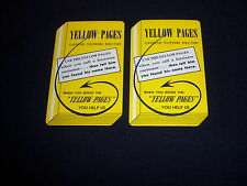 (2) single playing cards-YELLOW PAGES-vintage TELEPHONE-die cut shaped