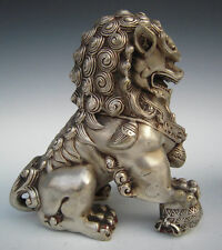 China Old Tibet Silver Lion Foo Fu Dog Door guard Copper Statue A Pair H:15cm x2