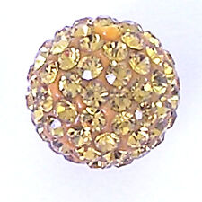 10 Light Topaz Rhinestone clay pave 10mm beads for Shamballa Bracelets