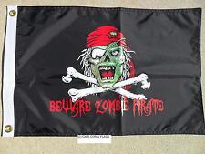 "PIRATE FLAG 12""X18""  BEWARE ZOMBIE PIRATE DOUBLE SIDED NYLON BOAT/MOTORCYCLE"