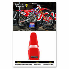 2002-2004 HONDA CRF 450  Seat Cover Red/White  TLD by Enjoy MFG