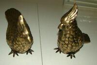 "Vintage Set Of 2 BRASS BIRD Pair Large 4 1/2"" x 10"""