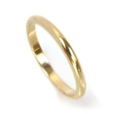 2 mm Solid 14k Yellow Gold Stacking Plain Dome Classic Wedding Band Ring Unisex