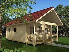 70 mm Ferienhaus 560x660 cm + Terrasse Gartenhaus Blockhaus Holzhaus Holz Neu