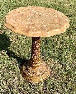 Vintage mid century modern Marble top Side End Table gold