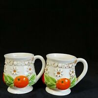 Vintage Fred Roberts Mug White Floral Daisy w/Fruit Footed Lot of 2 Preowned