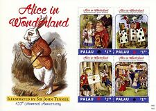 Palau Stamps 2014 MNH Alice in Wonderland Sir John Tenniel 100th Mem 4v M/S I
