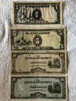 Philippines Japanese Occupation lot of 4 banknotes 1 peso 5 pesos 10 pesos G/VG