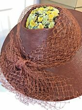 Vintage 1930 Straw Summer Floral Trim Hat