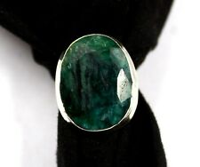 51.70 Ct Natural Top Quality Green Emerald 925 Sterling Silver US Ring Size 9.9