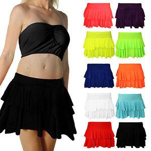 New Girls Women's Rara Two Tier Frill Gym Dance Neon Plain Mini Party Skirt S-XL