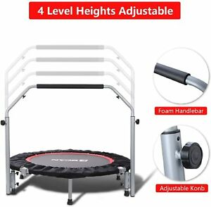 """40"""" Fitness Trampoline W/ Bar Home Gym Mini Rebounder Workout Bouncing Exercise"""