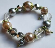 Beau bracelet extensible bijou rétro perles en résine de couleur pastel 2476