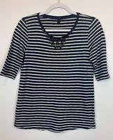 J. Crew Women's Size Small Navy Blue Jeweled Neckline Painter Striped Shirt EUC