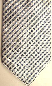 "Banana Republic Men's Silk Tie 59"" X 3.5"" White/Gray Criscross"