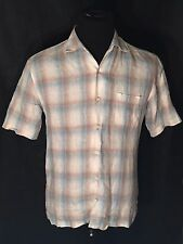 Tommy Bahama Mens Medium Blue White Plaid Checks Short Sleeve Button-Front Shirt