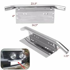 Bull Bar Style Front Bumper Fog Lights License Plate Mount Braket Holder 23'' US