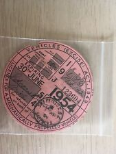 Tax Disc 1954 June  - Ariel Motorcycle - Excellent Condition