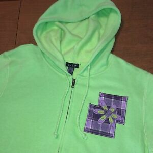 Full Zip ENZA Green Purple Patch Embroidered Hoodie Sweatshirt Size L Large