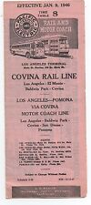 1946 Pacific Electric Rail Lines Motor Coach Timetable Los Angeles