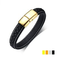Black Genuine Leather Bracelet Men's Silver/Gold/Black Clasps Stainless Steel