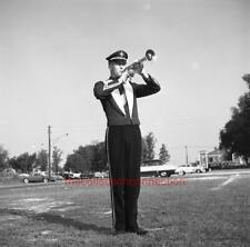 "3 Vtg 1960s 2 1/4"" Negatives Teen Boy High School Band Trumpeter in Uniform"