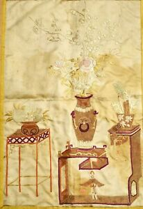 1930's Chinese Brocade Silk Embroidery Gold Threads Vase Panel Tapestry Textile