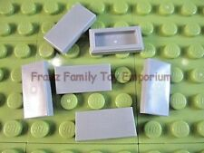 New LEGO TILE 1x2 Light Bluish Gray Plain Smooth Lot of 6 Part 3069
