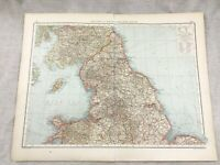 1899 Antico Map Inghilterra Galles Yorkshire UK Originale 19th Secolo Tedesco
