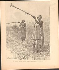 Africa Mission Hourst Niger Trumpet of King Boussa FRANCE GRAVURE OLD PRINT 1897