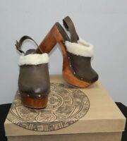 FIVE WORLDS CORDANI NWT Toledo Brown Leather Clogs Platform Shoes 8.5 39.5 $175