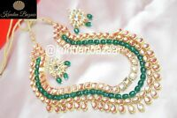 Indian Kundan Necklace Pearl Earring Set Bollywood Bridal India Women Jewellery-