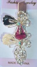 Butterfly Gray Burgundy Hair Clip Silver Crystal Rhinestone Alligator Barrette