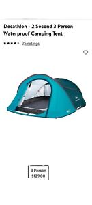 Decathlon Quechua 2 Second Pop Up Camping Tent For 3 People Water Resistant NEW