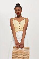 Topshop Linen Blend Yellow Button Through Camisole Top Size 4 Bnwt