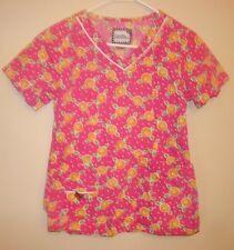 Mary Engelbreit Medical Nurse Scrub Top Shirt Size XS Summer Fruit EUC vneck