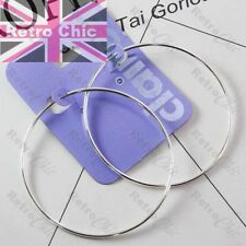 BIG 6cm thin smooth 60mm seamless HOOPS SILVER PLATED fashion hoop earrings