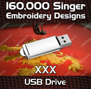 160,000 Singer embroidery pattern design files XXX on USB drive