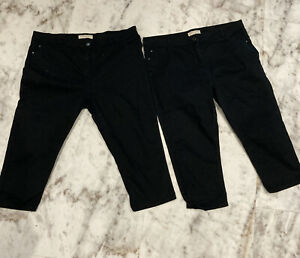 Job Lot X2 Pairs Size 18 Papaya Cropped Black Jeans