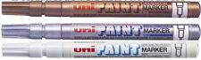 Uni-Ball PX-21 Marcadores de pintura permanente base de aceite de oro fino, Plata, Blanco Triple