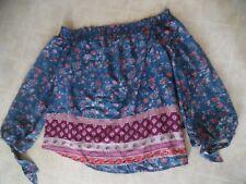Abercrombie & Fitch Women Blue Floral Print Peasant Top  XL